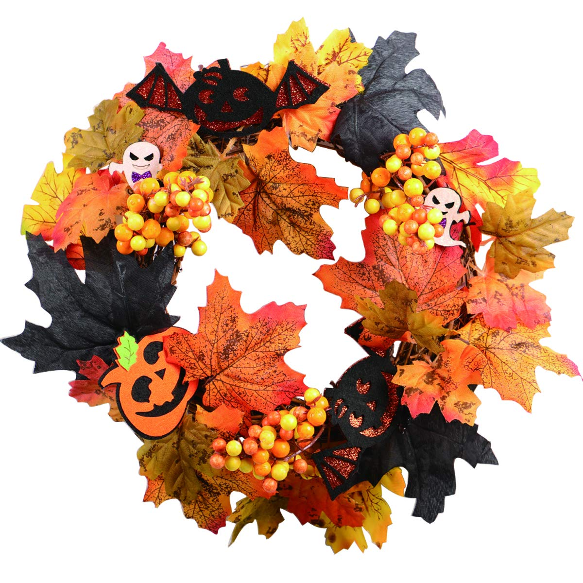 Desun Fall Door Wreath for Halloween 12 inch- Autumn Berries and Foliage Enhance Home Decor,Wreath for Fron Door, Outdoor or Indoor Décor Use,Every Day Nearly Natural Home Hanger Decor with Giftbox