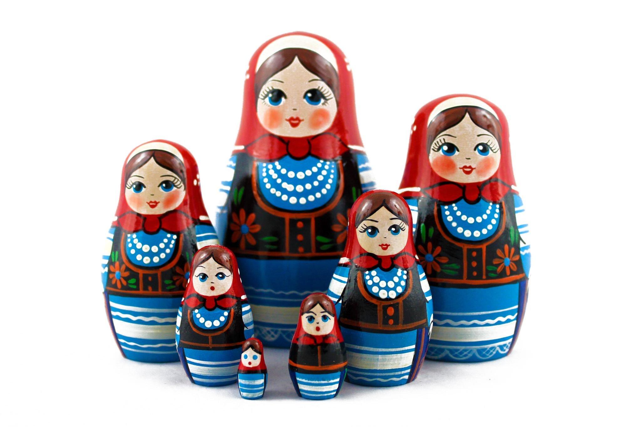 Matryoshka Polish National Dress Babushka Russian Nesting Wooden Stacking Doll 7 Pcs by MATRYOSHKA&HANDICRAFT (Image #6)