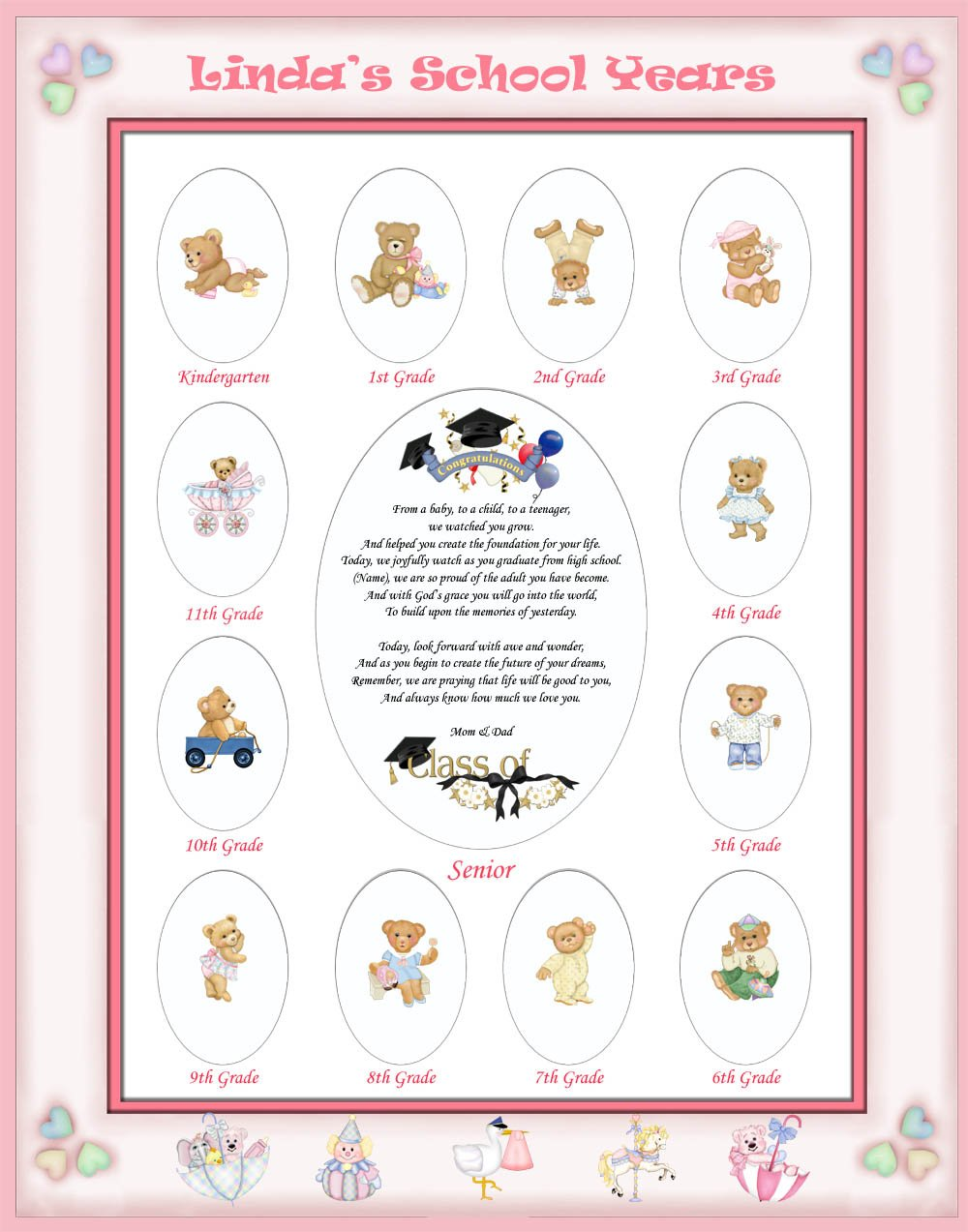 16 X 20 Size Personalized Baby Name Pink Candy Hearts Border My School Years Picture Photo Mat with Teddy Bear Illustration and Poem Verse As Birthday, Baby Girl Shower or Nursery Newborn Gifts