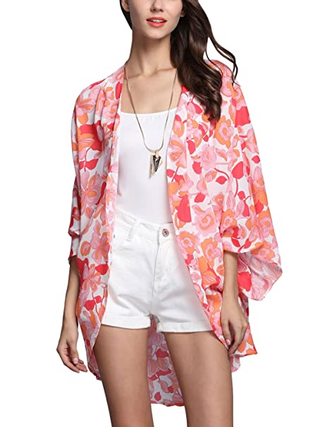 Aivtalk - Mujeres Chaqueta Blusón Rebeca Verano Blusa de Gasa Estampada Floral Kimono Suelto Casual para