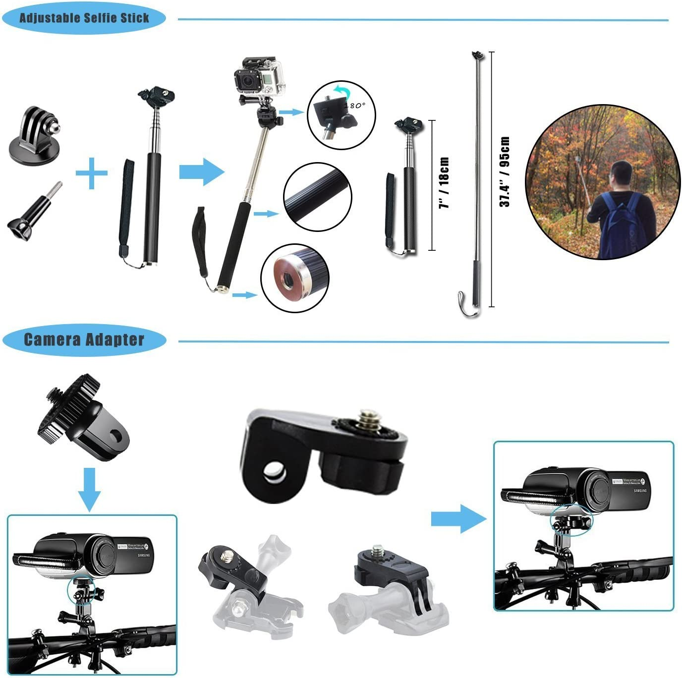 Followsun 15-In-1 Action Camera Accessories Kit for GoPro Hero 2019 Fusion Max Hero Session DJI OSMO Pocket AKASO Campark ACT74 ACT76 APEMAN Crosstour Sjcam Victure