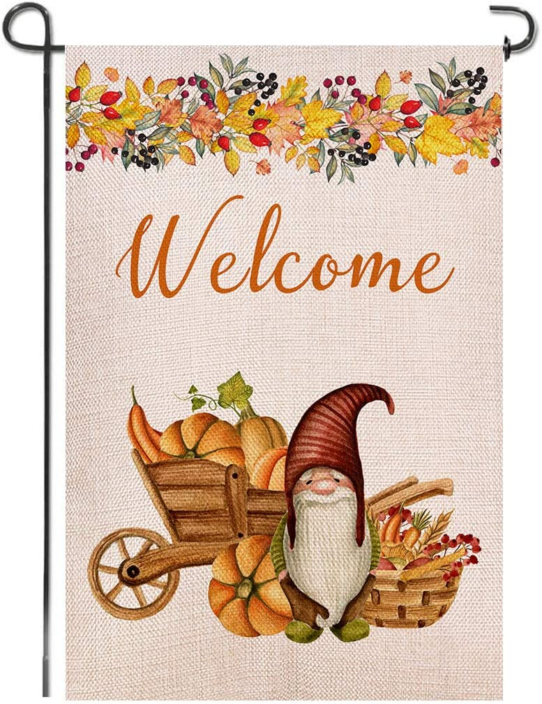 Shmbada Welcome Thanksgiving Day Fall Gnomes Burlap Garden Flag, Double Sided Autumn Pumpkins Home Decor Outdoor Seasonal Outside Decorative Flags for Yard Lawn Patio Porch Farmhouse, 12 x 18 Inch