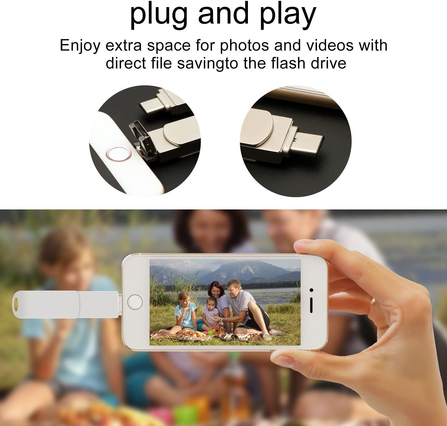 USB Memory Stick with USB 3.1 Type C Adapter Silver Metal 10 PCS 32GB USB 3.0 Flash Drives for iPhone iOS iPad Macbook A Plus