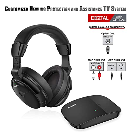 SIMOLIO Digital Wireless Headphones for TV, Hearing Protection Wireless TV Headphone with Optical, Wireless TV Headset System for All TVs, TV Hearing Aid Device for Seniors and Hard of Hearing