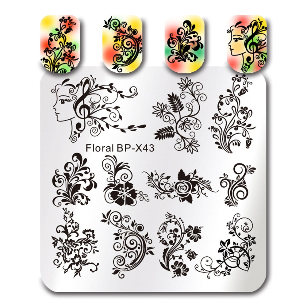 BORN PRETTY Nail Art Stamping Template Flower Vine Rose Leaves Floral Manicure DIY Print Image Plate BP-X43