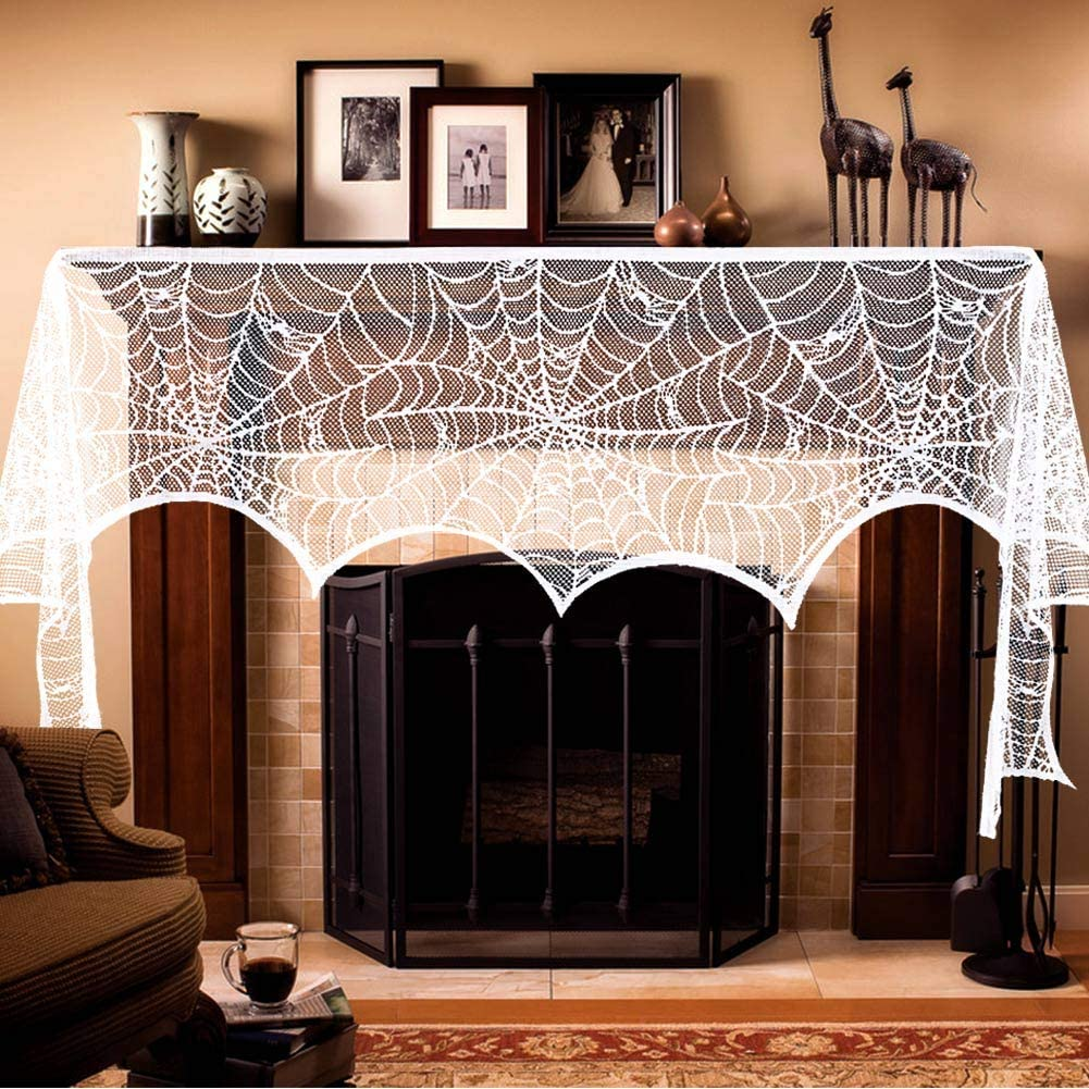 AerWo Halloween Fireplace Mantel Scarf, Halloween Decorations White Lace Spiderweb Fireplace Cover Festive Party Supplies,18 x 98 inch