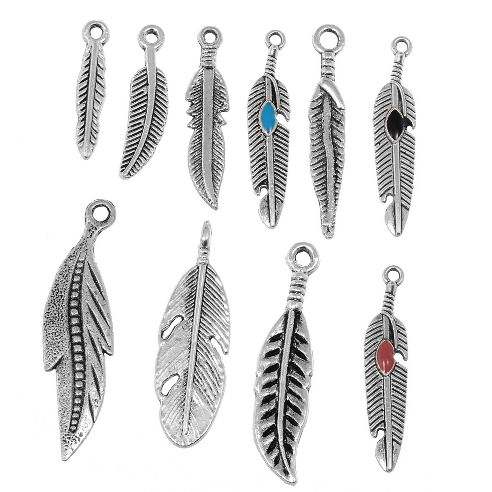 Amazon rubyca 10pcs tibetan silver color mix feather pendants amazon rubyca 10pcs tibetan silver color mix feather pendants charms bracelet necklace making jewelry mozeypictures Gallery