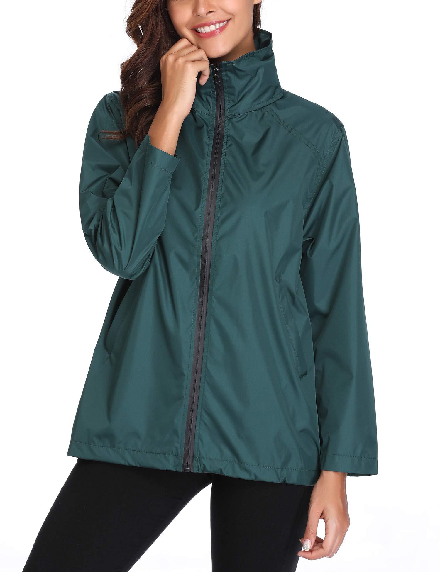 Womans Lightweight Rainwear Softshell Casual Outwear Windbreaker Jacket Dark Green XL