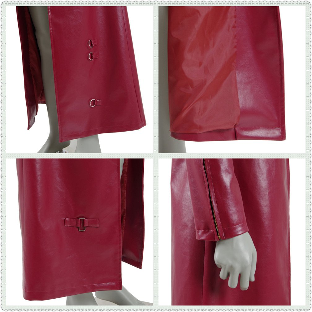 Men's Red PU Leather Trench Coat Cospaly Costume Halloween Outfit Uniform (US Men-L, Red) by FANER (Image #7)