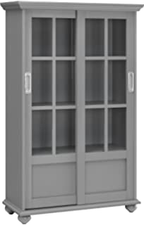 altra aaron lane bookcase with sliding glass doors soft gray - Cabinet With Glass Doors