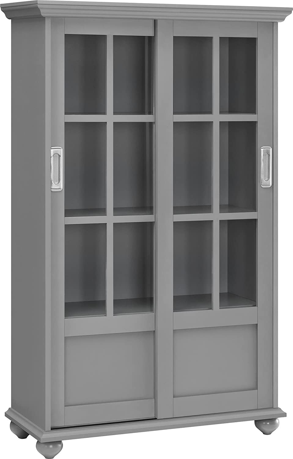 Amazon.com: Ameriwood Home Aaron Lane Bookcase with Sliding Glass Doors,  Gray: Kitchen & Dining