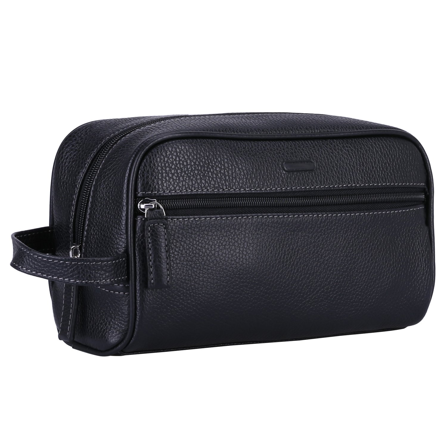 Banuce Vintage Leather Hanging Toiletry Bag for Men Travel Organizer Kit Black