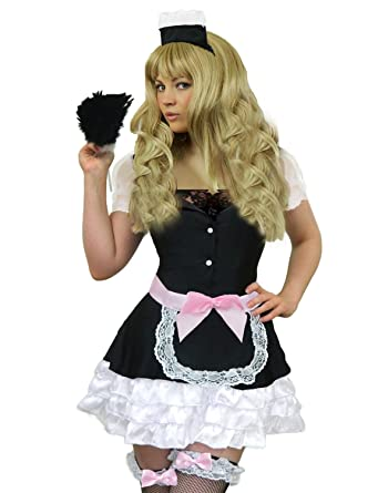 Amazon.com Yummy Bee Womens French Maid Costume + Feather Duster Plus Size 4-14 Clothing  sc 1 st  Amazon.com & Amazon.com: Yummy Bee Womens French Maid Costume + Feather Duster ...