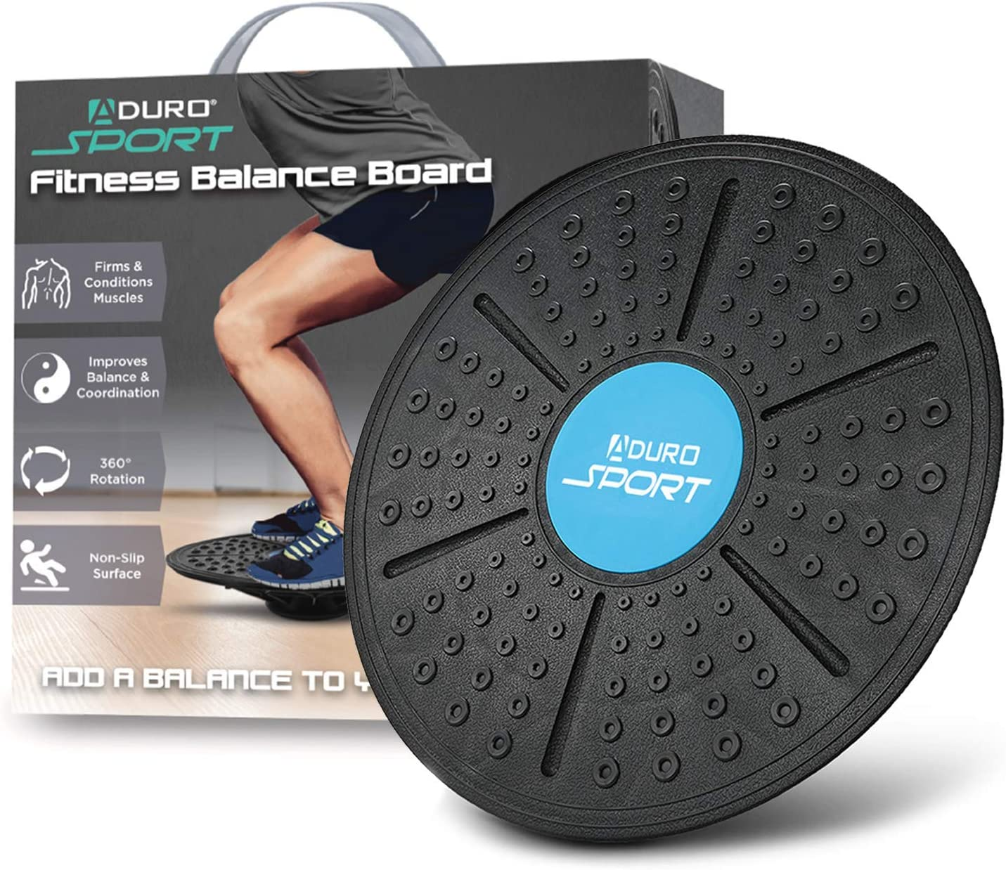 Aduro Sport 14 Balance Board Wobble Fitness Fit Exercise Tilt Stability Balancer Balancing Rocker Board Trainer Abs Legs Core Workout Non-Slip Safety Surface
