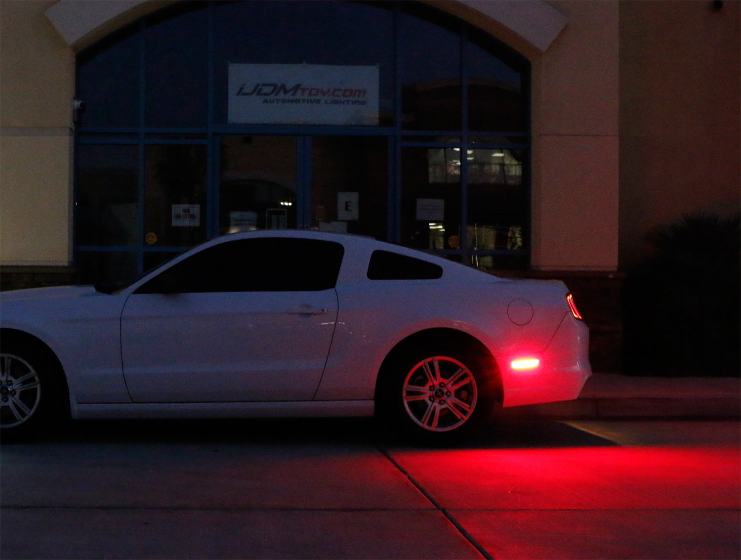 Replace OEM Back Sidemarker Lamps Powered by 54-SMD LED iJDMTOY Smoked Lens Red Full LED Rear Side Marker Light Kit Compatible with 2005-09 Ford Mustang