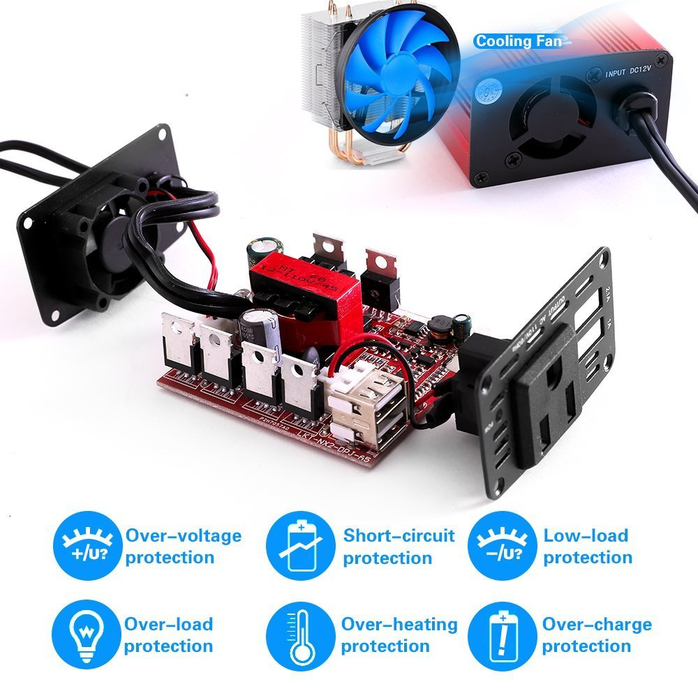150W Car Power Inverter Charger DC 12V to 110V AC Converter with 3.1A Dual USB Charger Blue soyond