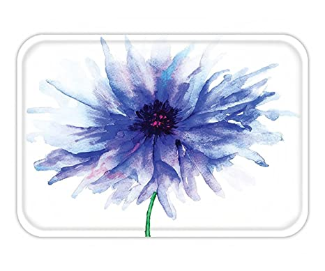 Beshowere Doormat Watercolor Flower Decor Fd Single Large Petite Cornflower On Plain Background Mother Earth Paint
