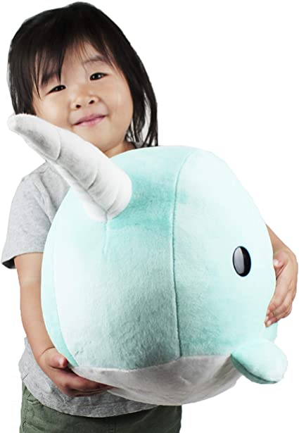 Teal Narwhal Stuffed Animal Plush Toy Adorable Plushie Toys and Gifts Lin