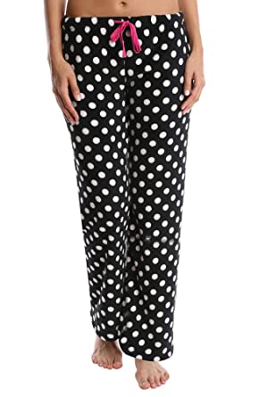 80a7d27054c2 Nomad Women s Plush Pajama Pants - Ladies Lounge   Sleepwear Bottoms -  Black and White Dot