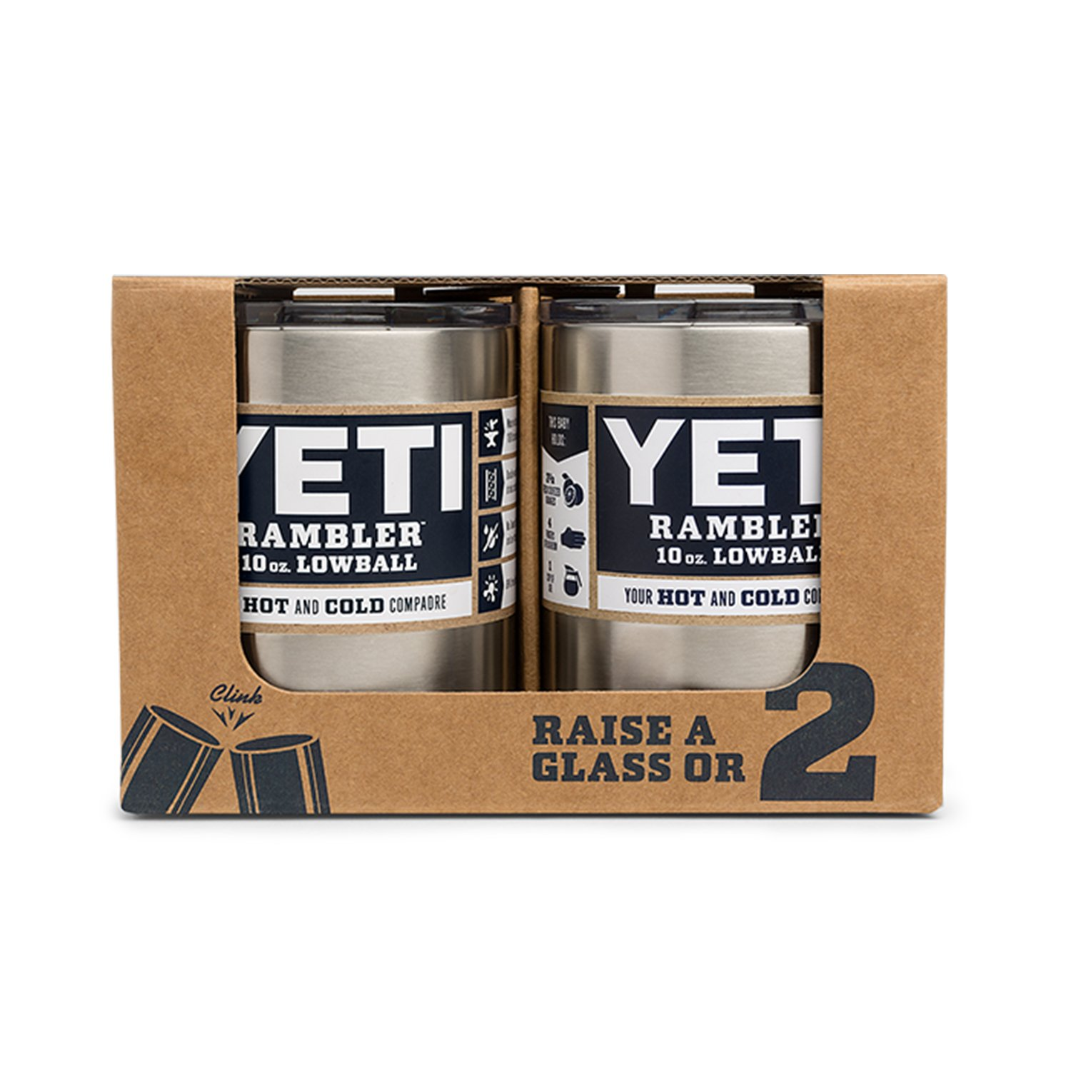 YETI Rambler 10oz Vacuum Insulated Stainless Steel Lowball with Lid (2 Pack Stainless) by YETI