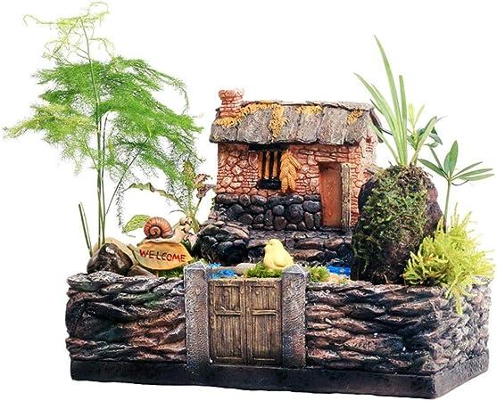 AFCITY-Garden Figurines para jardín, Familia Hogar Jardín Resina Planta Suculenta Maceta Maceta Micro Paisaje Canasta Maceta Bonsai DIY Decoración para Jardines en Miniatura: Amazon.es: Hogar