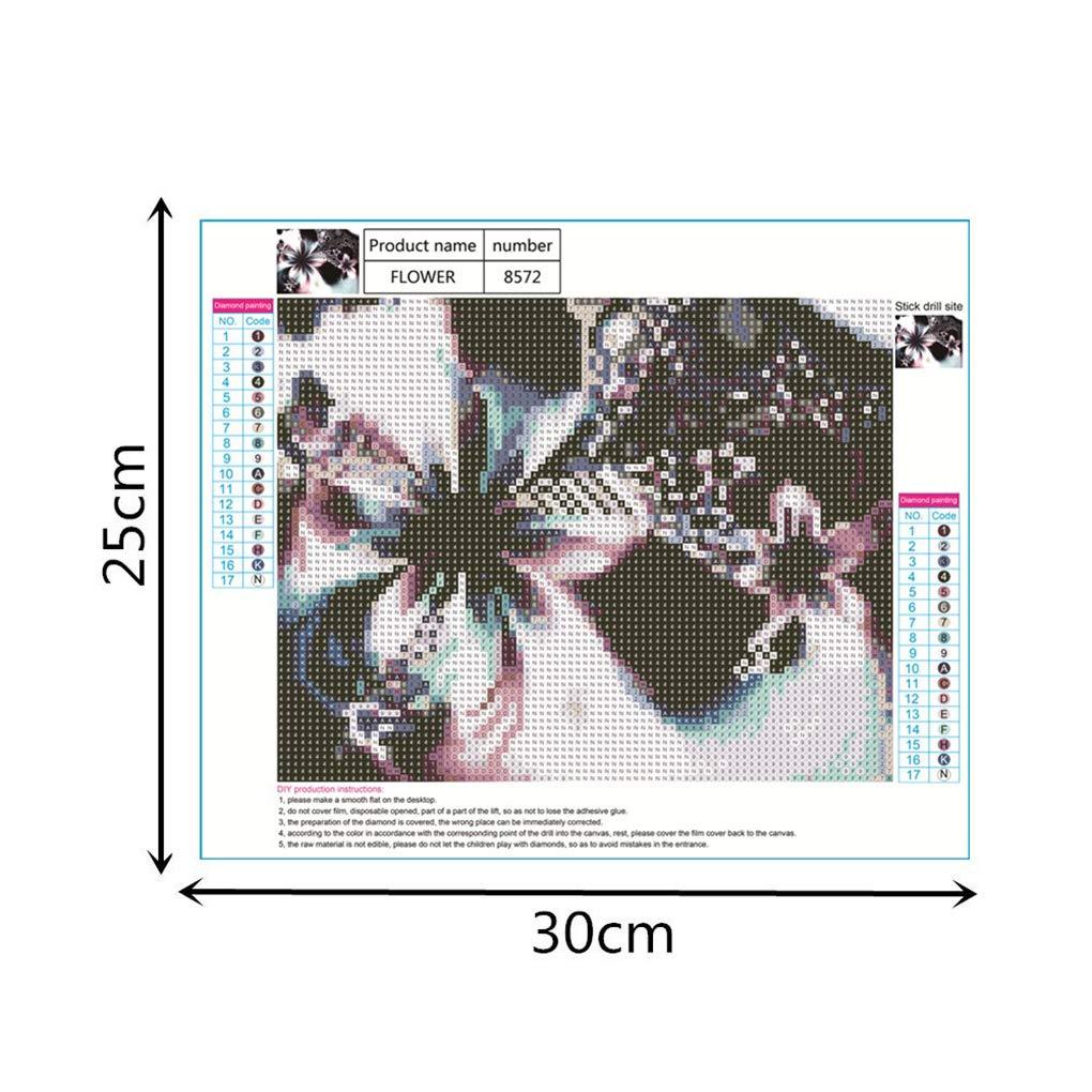 mailfoulen Diamond Flower 5D Fai da Te//Bella Ragazza Modello Pittura Rotondo in Resina di Cristallo Ricamo Immagine Decorativa Domestica Punto Croce
