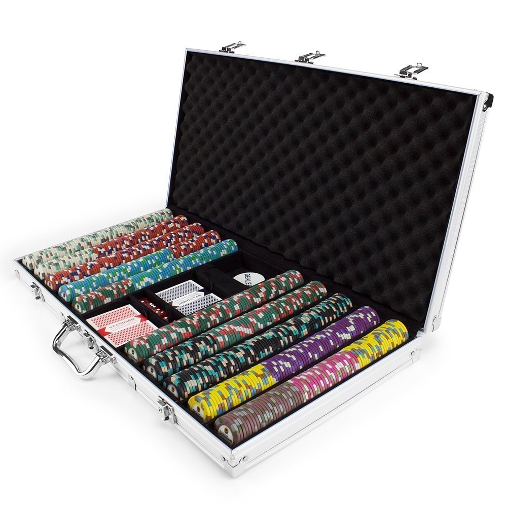 By-Claysmith Gaming Poker Chips Set, Claysmith 750ct Showdown Texas Holdem Travel Poker Chip Case Set by By-Claysmith Gaming