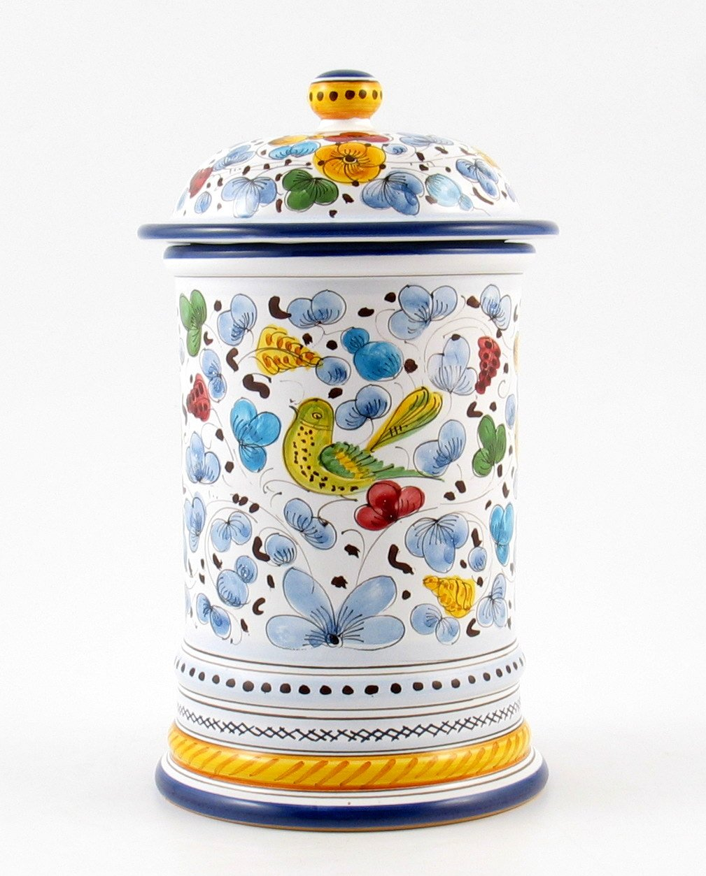 Hand Painted Italian Ceramic 9.8-inch Shaped Canister Arabesco - Handmade in Deruta