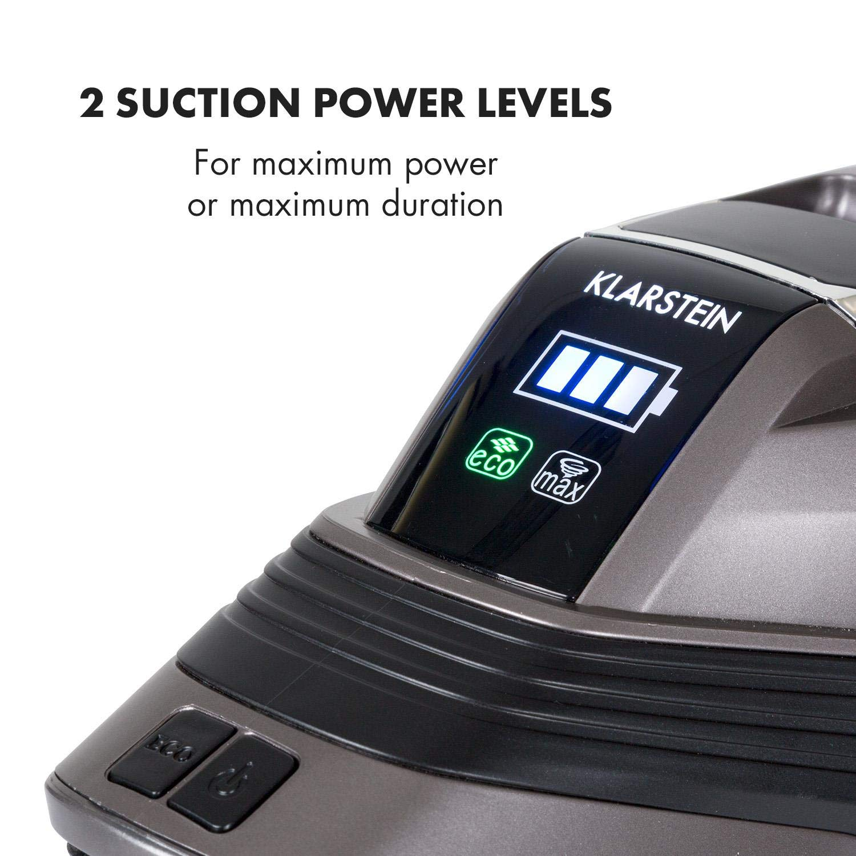 Klarstein Cleanbutler 3G Turbo Aspiradora de batería • Aspiradora de ciclón • Aspiradora sin Bolsa • Boquilla con luz LED • 0,7 litros de Capacidad • ...