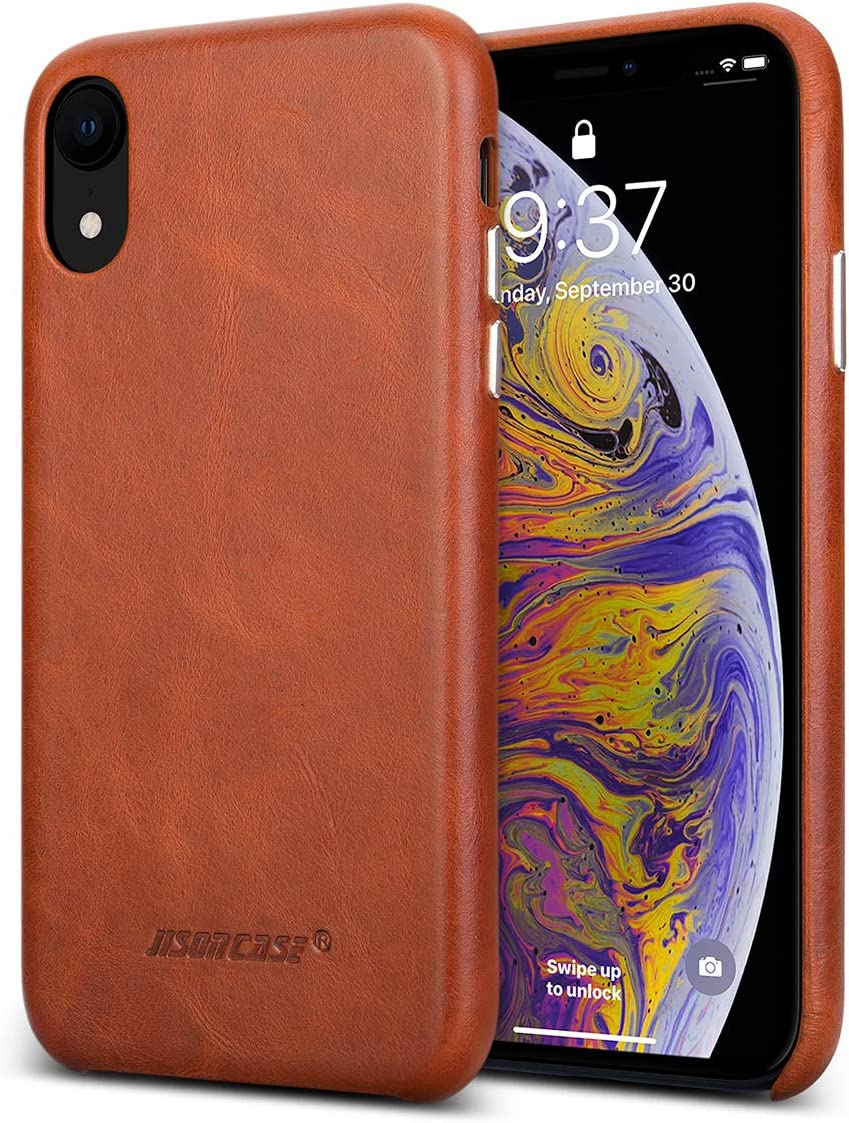 JISONCASE iPhone XR Case Leather, Genuine XR Leather Case Shockproof Ultra Thin Protective Case, Hard Back Cover for iPhone XR 6.1 Inch, Support Wireless Charging - Brown
