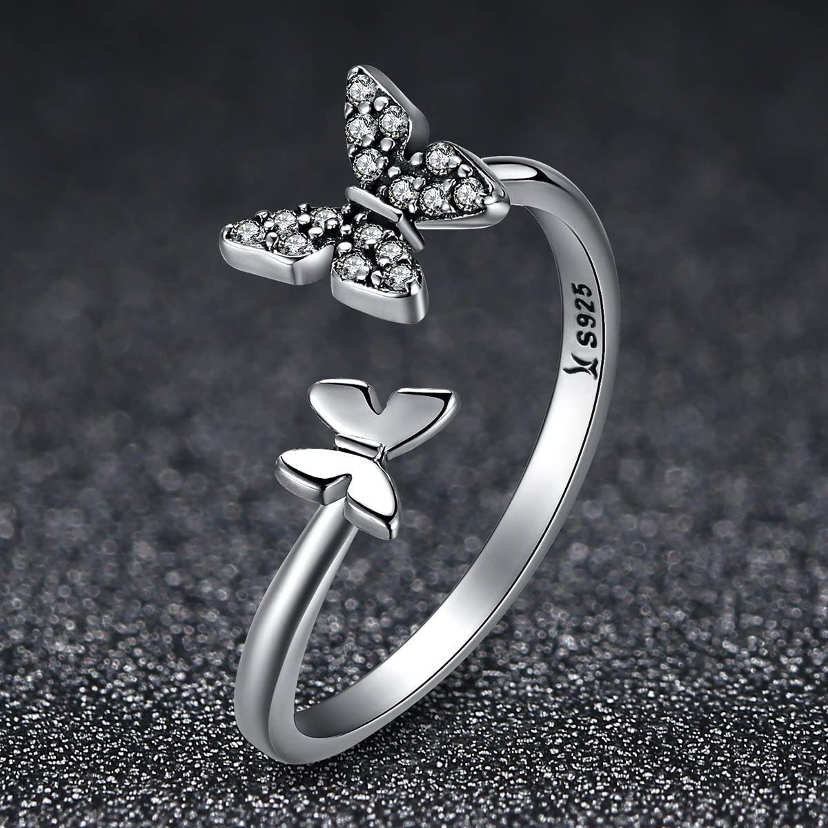 Clear CZ Everbling Dazzling CZ Butterfly Open 925 Sterling Silver Adjustable Ring