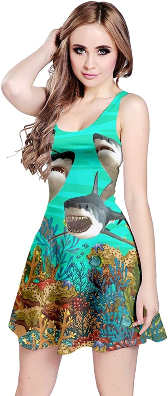 CowCow Womens Pattern Sharks Sleeveless Dress