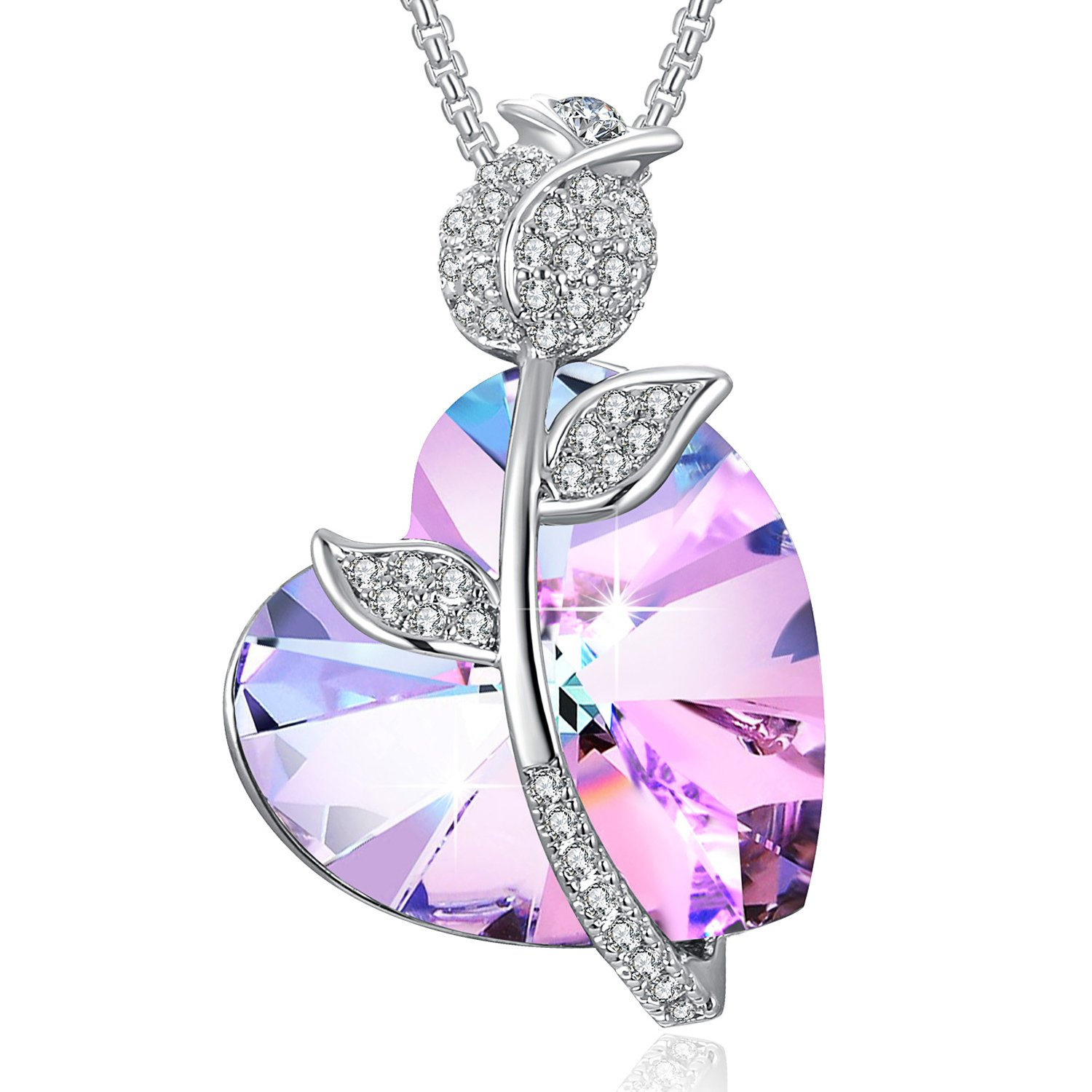 Swarovski Element Necklace Color Changing Crystal Rose Love Pendant Necklace for Women, Birthday Birthstone Jewelry Gifts for Girl, Amethyst Purple Pink, 18''