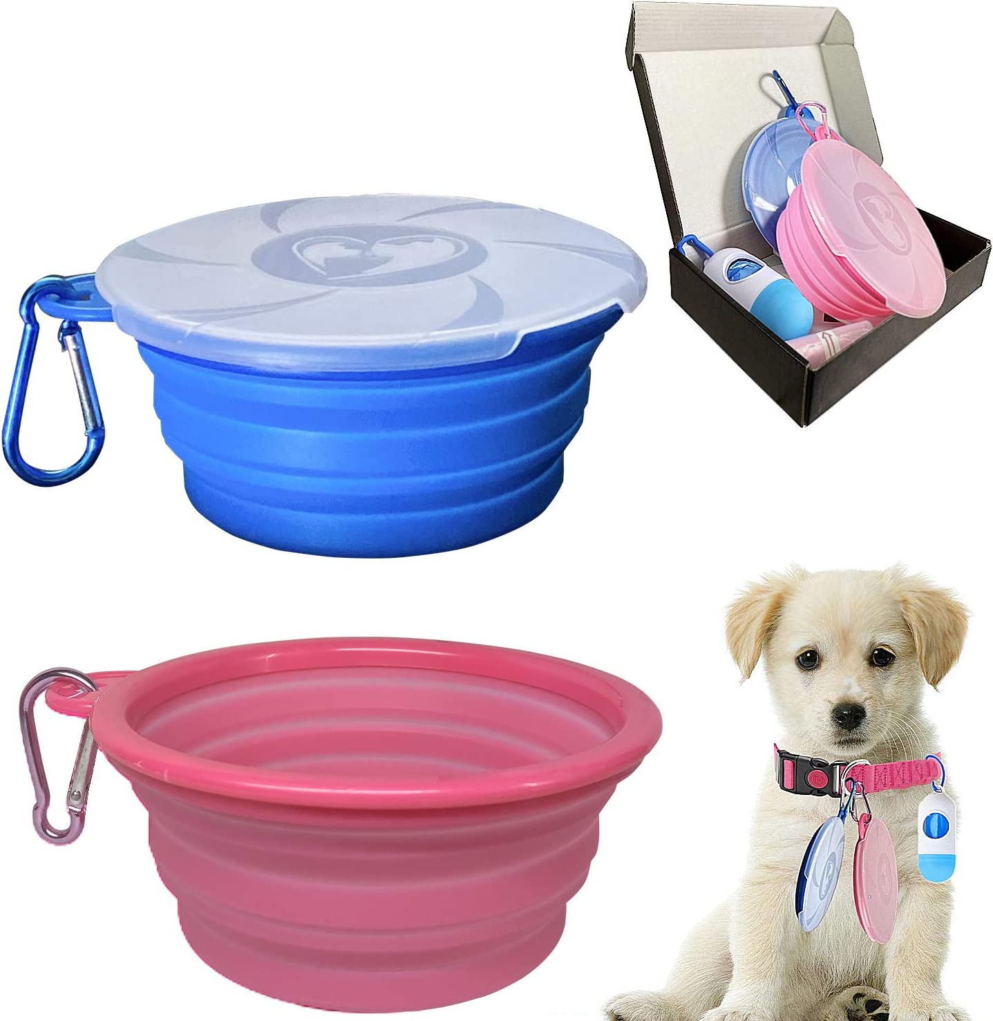 Collapsible Dog Bowl for Travel, 2 Pack Silicone Foldable Bowls with Lids & Dog Poop Bag with Dispenser, Dog Water Food Bowl Cat Feeding Cup Dish, Small Dog Portable Bowl Set,450ml,15oz