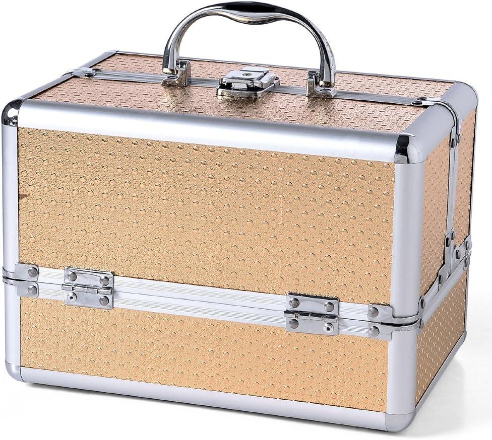 Tamaño grande dorado aluminio Beauty caja de Maquillaje Joyero con accesorios de Peppa mueble para clavos: Amazon.es: Bricolaje y herramientas