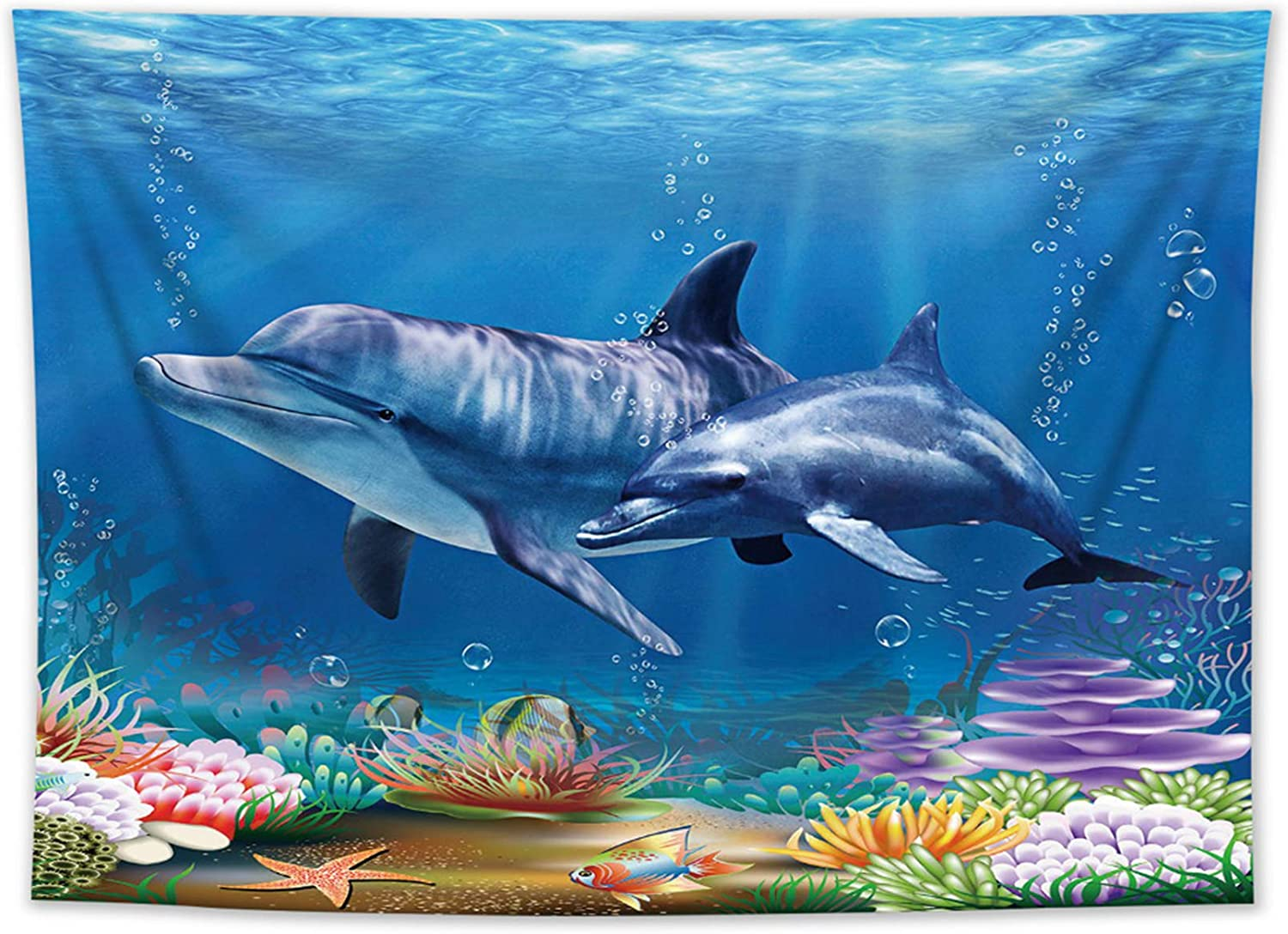HVEST Dolphin Tapestry Blue Ocean Coral Reef Tapestry Wall Hanging Underwater World Dolphin Tapestry For Living Room Bedroom Kids Room College Dorm Wall Hanging Blanket Home Decoration, 60x40 inches