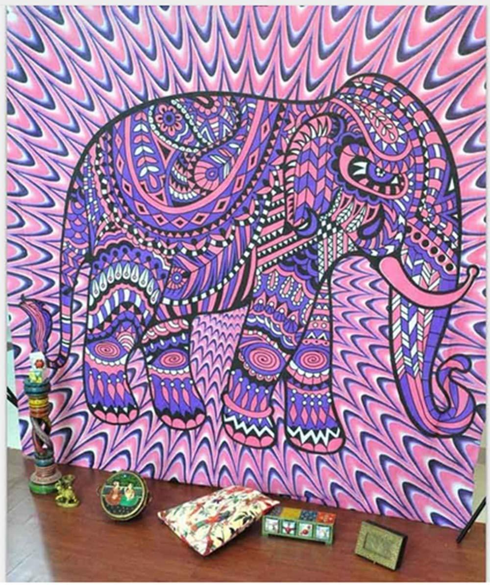 decoraci/ón de rec/ámara India para la Playa Mandala Tapiz para Colgar en la Pared decoraci/ón de la habitaci/ón Bohemio 150x130cm Colorful Elephant poli/éster