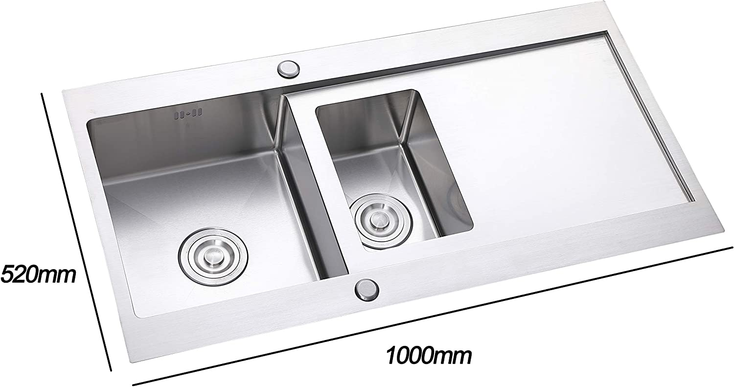 Size 1000mm*520mm*200mm Large Square Sink with Stainer Waste and Pipe Kits GLANZHAUS Commercial 1.5 Bowl Stainless Steel Kitchen Sink