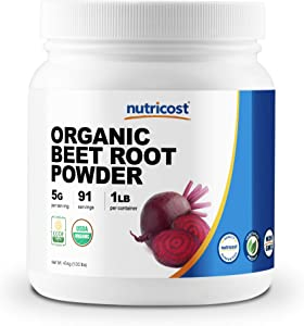 Nutricost Organic Beet Root Powder 1 LB - Superfood, Certified USDA Organic