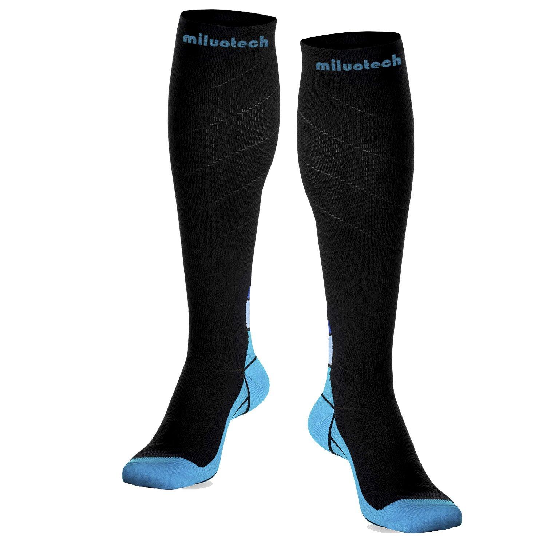 MiluoTech Compression Socks, Professional Sport sock for Men & Women (20-30 mmhg) Fit for Running, Nurses, Shin Splints, Flight Travel & Maternity Pregnancy - Boost Stamina, Circulation & Recovery