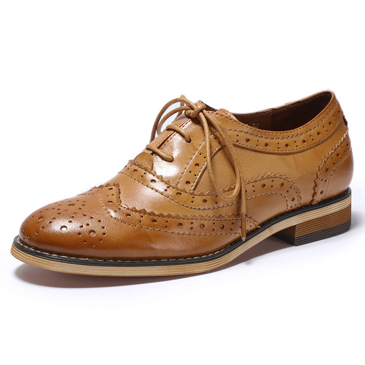 Mona Flying Women's Leather Perforated Lace-up Oxfords Shoes for Women Wingtip Multicolor Brougue Shoes (8, Brown 2)
