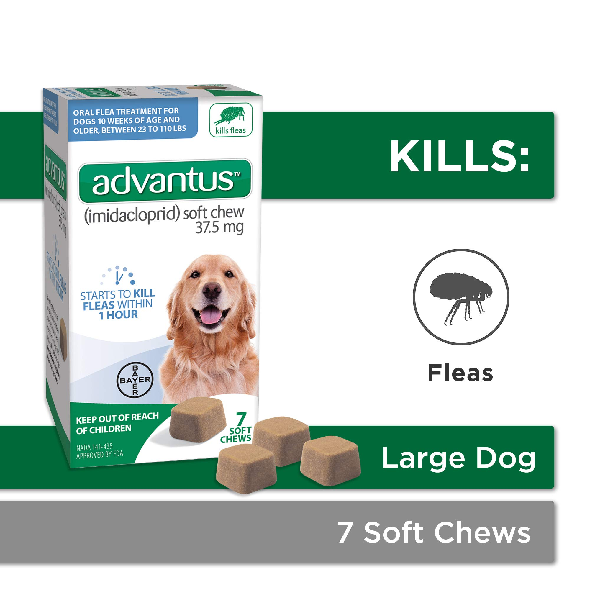 Bayer Advantus, Large Dogs 23-110 lbs, Soft Chew Flea Treatment, Savory Meat Flavored, Same-As-Vet, 7 Daily doses by Bayer Animal Health