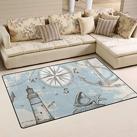 Sea Anchor Modern Nonslip Area Rug Living Room Floor Door Carpet Kids Play Mat