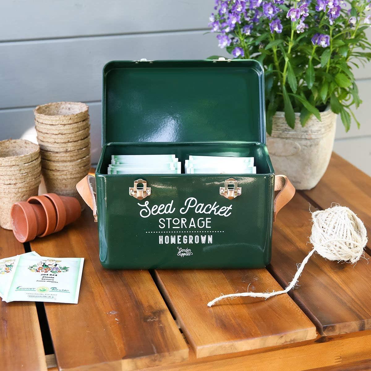 Burgon & Ball Seed Packet Storage Tin Frog Green