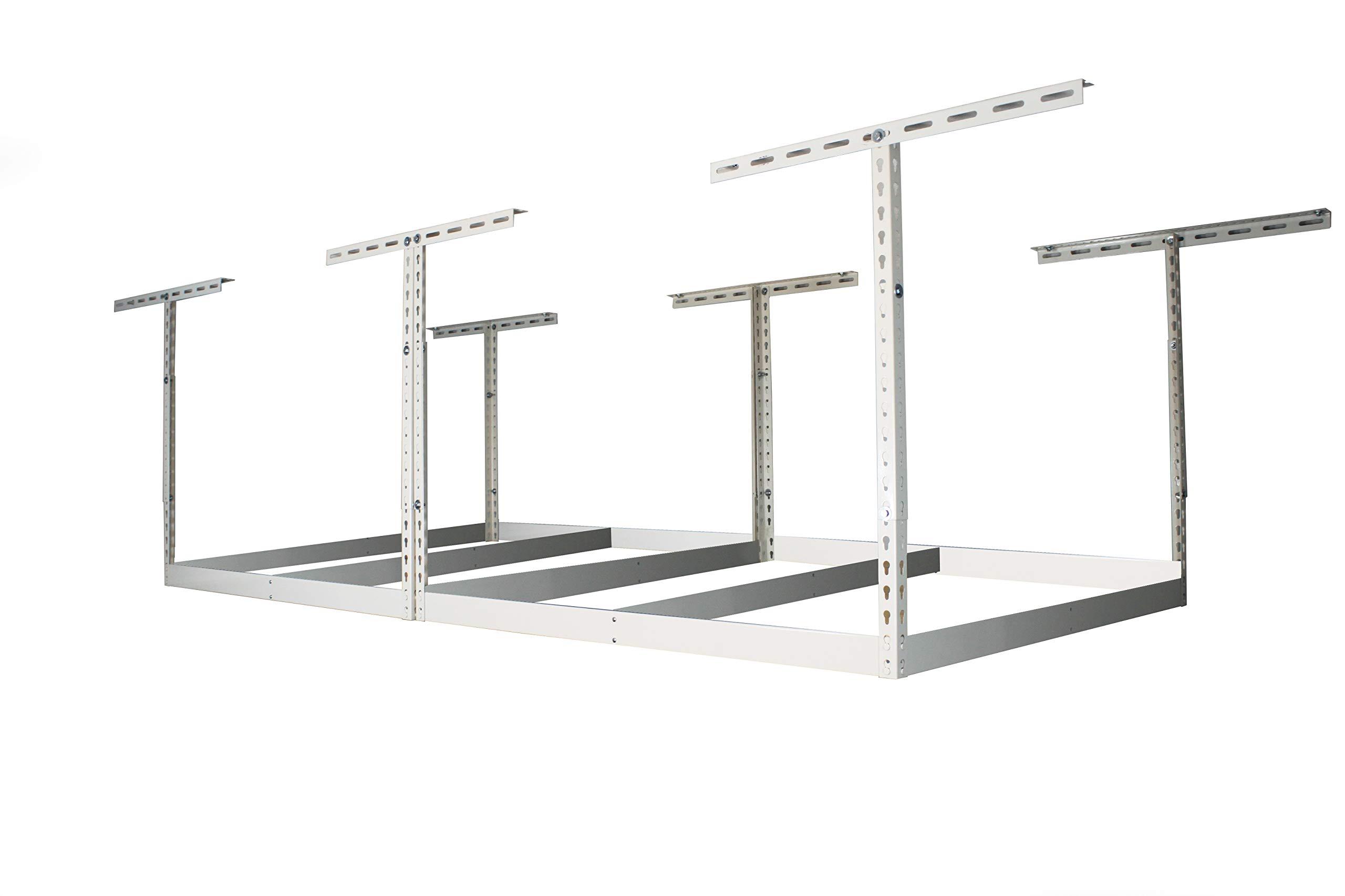 MonsterRax 4x8 Garage Storage Rack - Height Adjustable Steel Overhead Storage Rack Frame Kit with Adjustable Height - 600 Pound Weight Capacity (White, 24''-45'' Drop) by MonsterRax