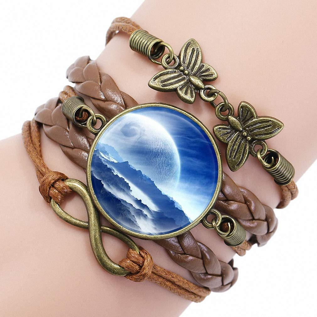Womens Nebula Space Universe Galaxy Crescent Glass Cabochon Leather Bracelet Unisex Girls Best Gift