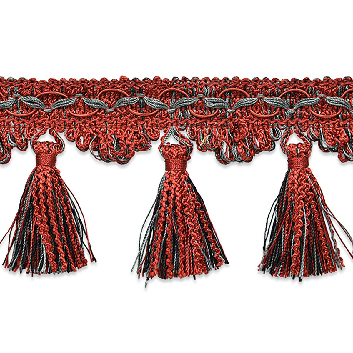 RIC Rac Tassel Trim Red Multi (Precut 20 Yard) by Expo International Inc.