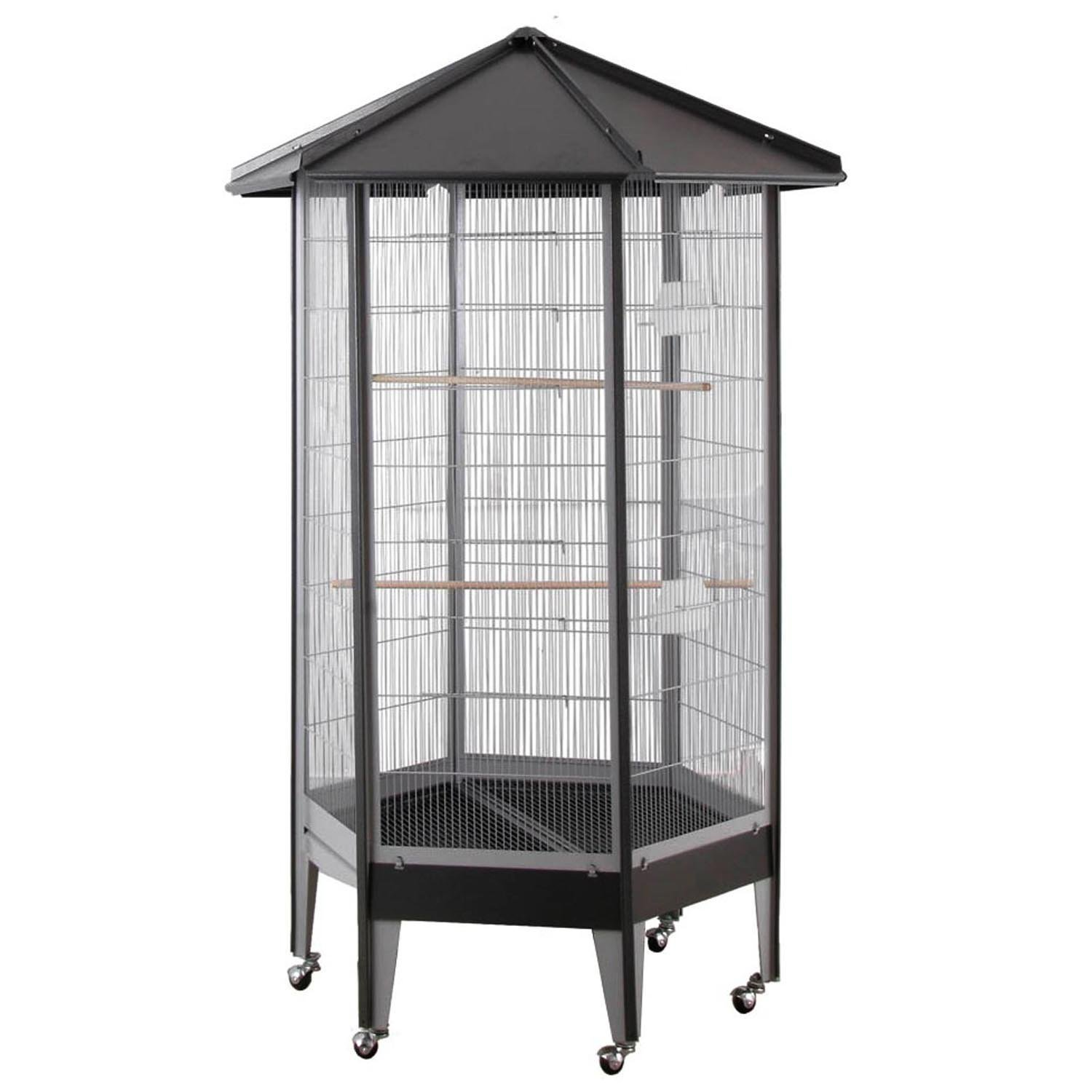 61818 HQ Large Parrot Aviary Cage 36'' x 31'' x 68'' - Black