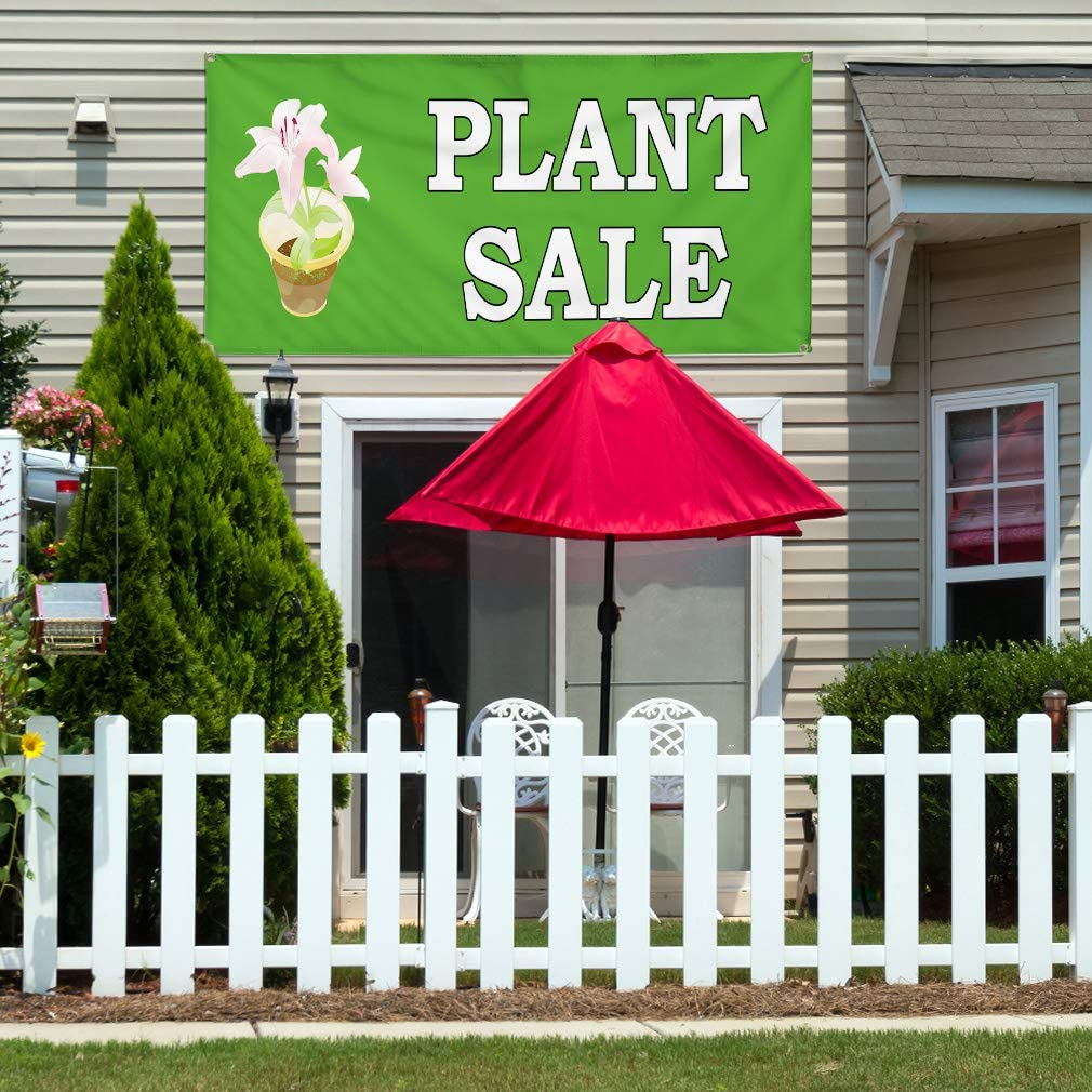 Vinyl Banner Multiple Sizes Plant Sale Nursery Business Advertisement Business Outdoor Weatherproof Industrial Yard Signs Green 4 Grommets 24x48Inches