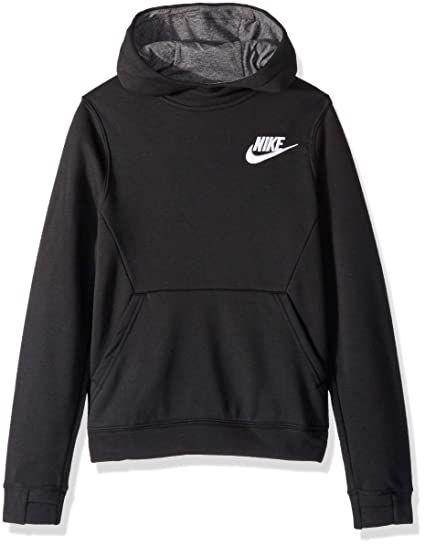 9109a60c NIKE Sportswear Boys' Club Pullover Hoodie, Black/Charcoal Heather/White, X